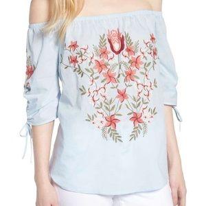 Hinge Embroidered Off Shoulder Top